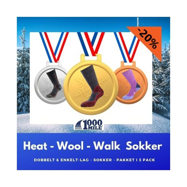 HEAT - Wool - Walk, varme sokker. 3 Pack