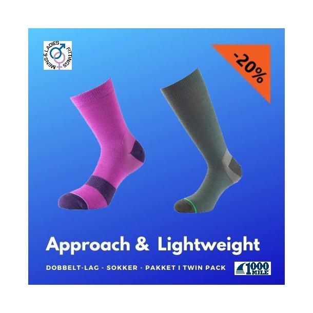 Approach og Lightweight - Dobbelt-Lag, tynne sokker.