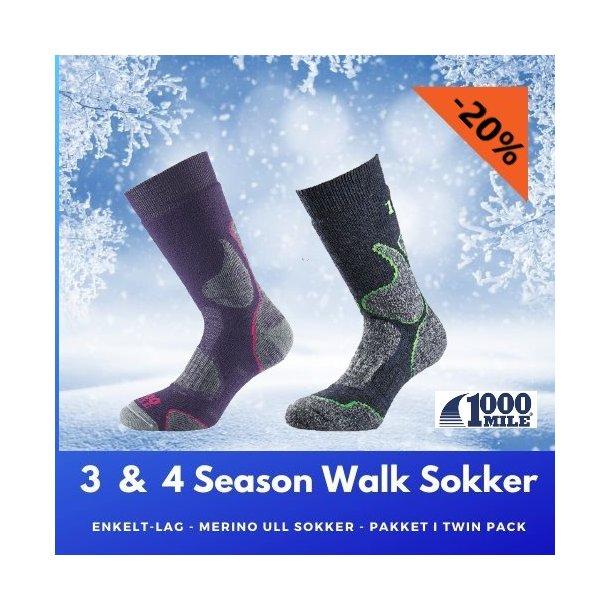3-4 Season Walk Merino Ull-Sokker - Twin Pack