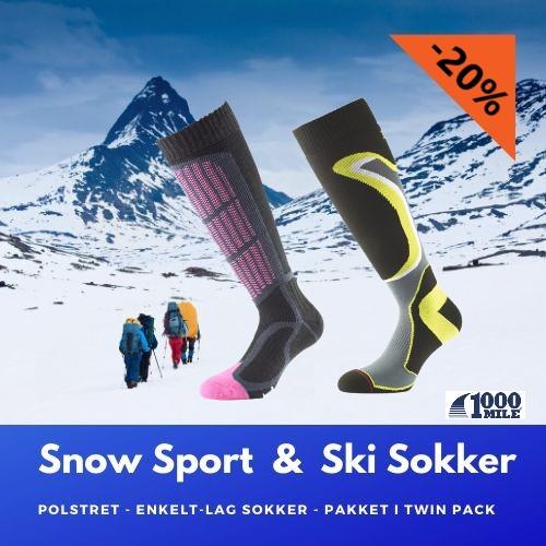 Varme og beskyttelse for velvære hele dagen i bakkene - 1000 Mile Snow og Ski sokker.