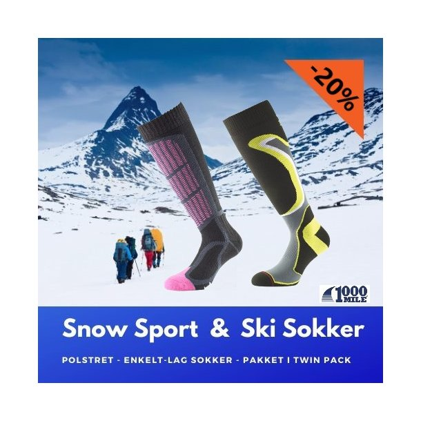 The 1000 Mile SNOW & SKI Sock - TWIN PACK
